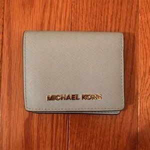 Saffiano leather light blue wallet